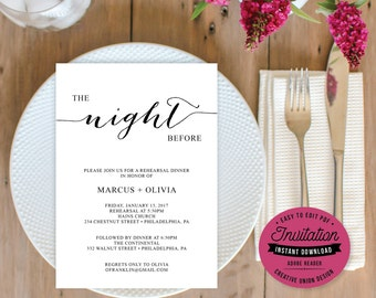 Rehearsal Dinner Invitation - Rehearsal Invitation - Editable Wedding Rehearsal - 5x7 Invitation - DIY - Instant Download - Minimal Elegance