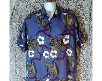 Men's Purple Hawaiian Shirt, Vintage Surfer Shirt, Mens Floral Tropical Shirt, Flowered Vacation Shirt, Men's Island Shirt, Mens Size Large