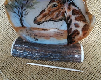 """Giraffe Agate Art painting,  size 4"""" wide brown/grey toned agate,  with custom elk antler stand"""