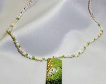 Green Egret Pendant Necklace