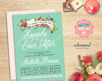 "Bridal Shower Invitation ""Happily Ever After""  (Printable File Only) Teal White Font Flowers Banner Classy Elegant Pink Quatrefoil BlueGreen"