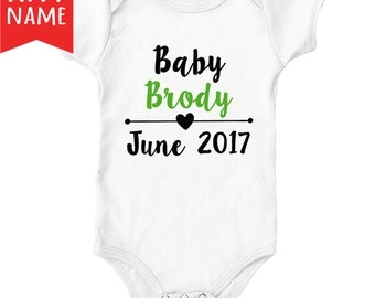 Customized Personalized Pregnancy Announcement Onesie Bodysuit   Pregnancy Announcement to Husband   Baby Onesie Announcement   Photo Prop