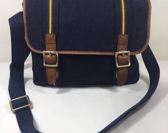 Fossil, Blue Canvas Messenger Bag, Blue Canvas, Leather Trim, Shoulder Bag, Cross Body Purse
