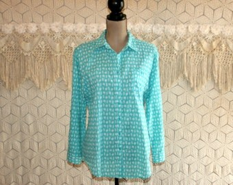 Turquoise Blue Shirt Cotton Blouse Plus Size XL Tops Button Up Womens Shirts Casual Spring Summer Plus Size Clothing Womens Clothing