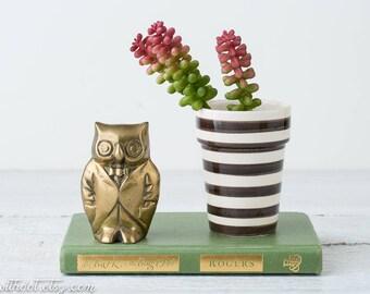 Vintage Brass Owl - Owl in Tuxedo - Brass Figurine - Owl Decor