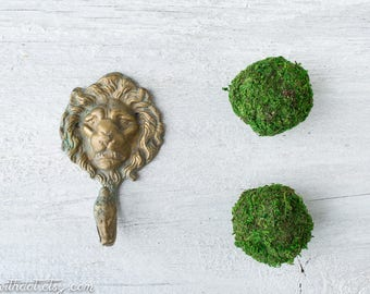 Vintage Brass Lion Hook - Rustic Brass Hook - Animal Wall Hook - Towel Hook - Key Hook