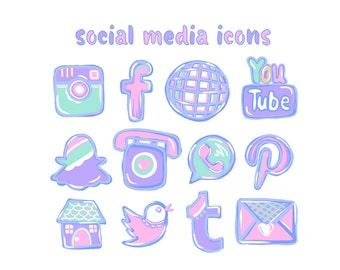 12 hand drawn social media icons pastel pink social media buttons pastel purple social icons blog icons blog buttons retro website icons