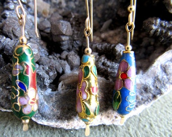 Clearance earrings, cloisonne teardrops, one pair, gold, 12k goldfilled french earwires, length 1 3/4 inches.