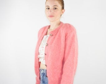 80s Vintage Mohair Cardigan Sweater | Soft Pink Wool Cardi | Size Medium