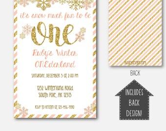 Winter Onederland Invitation, Winter Wonderland Invitations, Pink and Gold Invitations, Winter ONEderland