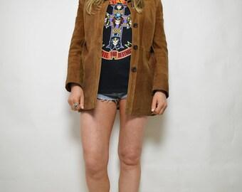 Vintage 70s Tan Brown Suede Jacket Coat Country Western Southwestern Hippie Boho Grunge Rocker Biker Hipster Festival Small