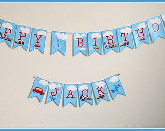 Planes Trains Automobiles Banner, Planes Trains Automobiles, Personalized Birthday Banner, Planes Trains Automobiles Party Decorations