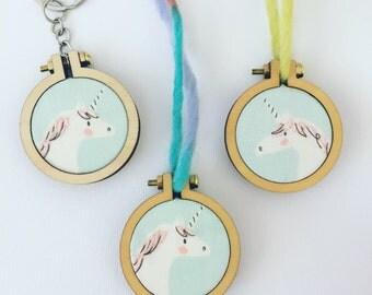 Unicorn pendant necklace. Girls jewelry. Hand embroidered. Mini embroidery hoop. Kids birthday gift. Sarah Jane Magic fabric