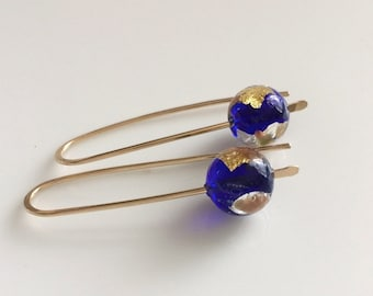 Venetian Glass Earrings / Cobalt Blue Glass Earrings / Gold Filled Earrings / Murano Glass Earrings / Deep Blue Earrings