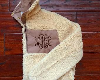Monogram Sherpa Sweatshirts For Women - Gifts For Her - Holiday Gifts - Monogrammed Sweatshirt - Gifts For Women