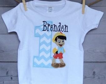 Personalized Birthday Wooden Boy Applique Shirt or Onesie Girl or Boy