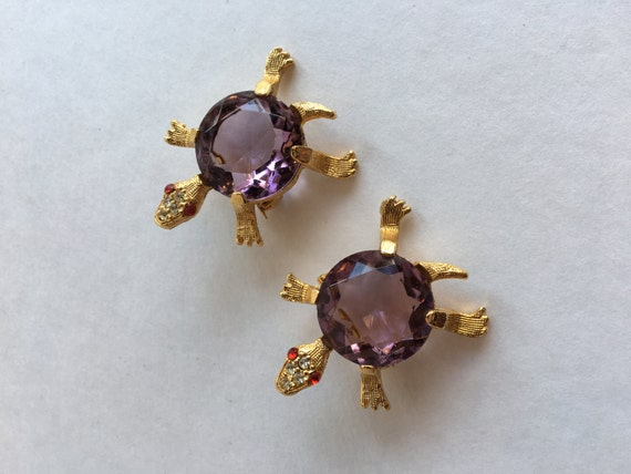 Amethyst Glass Turtle Pair of Scatter Pins Brooches Gold Metal Bodies Rhinestone Faces and Eyes