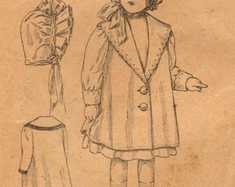 1909 McCall Adorable Coat and Bonnet Pattern Size 4