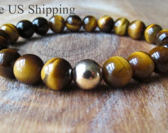 Tiger Eye and Gold Bracelet, Tiger Eye Beaded Bracelet, Tigers Eye Gemstone Bracelet, Gift for Men, Men's Jewelry, Men's Bracelet
