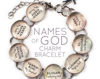 "Names of GOD Glass Charm Bracelet, 6""-9.5"""