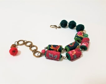 Bright Red Green Bracelet. Tropical Punch. Boho Beach Bracelet. Fabric and Yarn Beads. Ethnic Style. Bohemian Textile Jewellery.