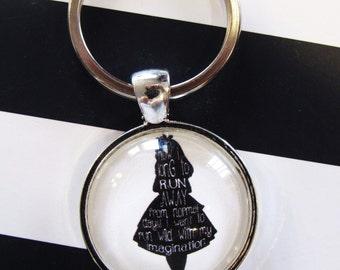 Alice in Wonderland Keychain, keychain gift, imagination gift, alice in wonderland fan, alice in wonderland key ring, gift for her, handmade