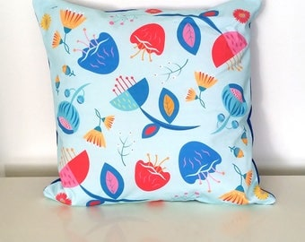 Floral cushion cover, Scandinavian pillow, Decorative throw pillow, Designer cushion cover, Printed pillow, Spring colours, INSERT INCLUDED
