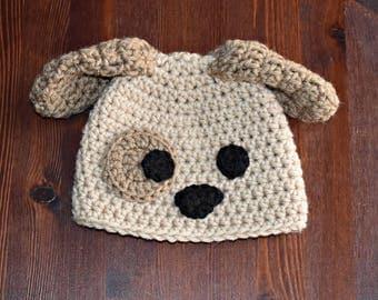 Puppy Hat, Newborn Puppy Hat, Baby Puppy Hat, Beige Puppy, Purple, Pink, Blue Puppy, Newborn Photo Prop, Baby Shower Gift, New Baby Gift