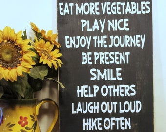 Live Life On Purpose Enjoy The Journey Wood Sign - Be Thankful Sign -  Your Choice Of Colors