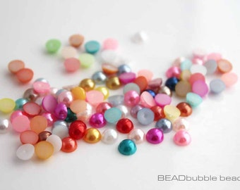 6mm Faux Pearl Flat Back Acrylic Plastic Round Cabochons, Pack of 100 Mixed Colours, Jewelry Making (CAB037)