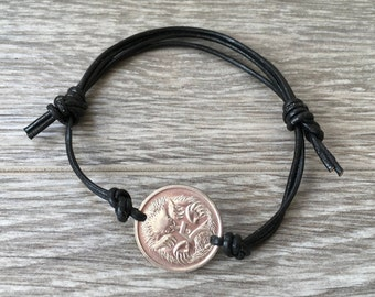 19th birthday gift, 1999 Australian coin bracelet, leather jewelry, Aussie anniversary, Australia, cool present for him, her, man or woman