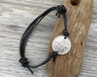 Sixpence friendship bracelet, knotted leather jewelry, 54th, 53rd, 52nd, 51st, 50th birthday, 1963, 1964, 1965, 1966, or 1967 coin gift