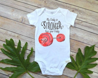 Crossfit shirt,My Daddy is Stronger than your Daddy, Crossfit Gift, Crossfit shirt, Crossfit Baby shirt, Funny shirts, Crossfit Bodysuit