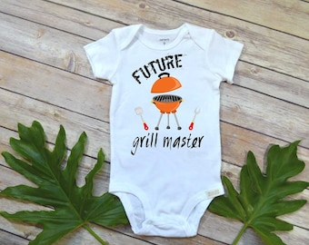 Baby Shower Gift, Future Grill Master, Cute Baby Clothes, Funny Baby Gift, Daddy Baby Reveal, Pregnancy Reveal, BBQ With Daddy, Cute Boy Set