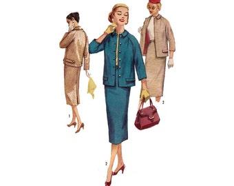 "50's Women's Suit Sewing Pattern, Slim Skirt and Jacket Misses Size 14 Bust 34"" Uncut Vintage 1950's Simplicity 1798"
