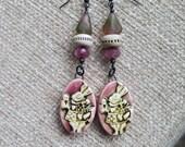 white rabbit earrings, alice in wonderland earrings, queen of hearts, mauve earrings, unique earrings, long pink earrings, Valentine gift