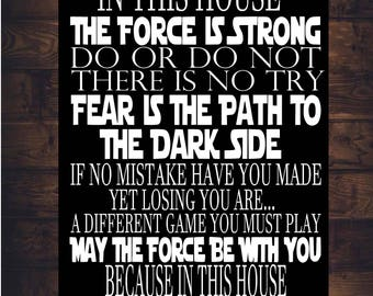 STAR WARS House Rules Sign Jedi DISNEY Art Print Canvas