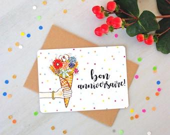 Happy Birthday Polka Dot Postcard - Free Shipping! Love gift - Artprint - Watercolor illustration