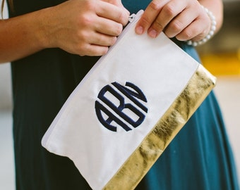 Monogrammed Pouch, Monogrammed Bridesmaid Gifts, Metallic Bridesmaid Gifts For Metallic Wedding Theme