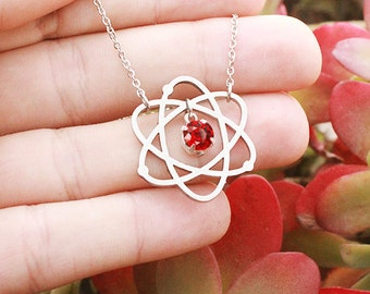 Atom Necklace, Science Student Gift, Chemistry, Periodic Table, Science Jewelry, Science Symbol Necklace, Proton Neutron Nucleus, Chemist,