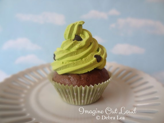 Fake Cupcake Faux Cupcake Faux Dessert Mint Chocolate Chip Green Cupcake Decor Home Staging Gift