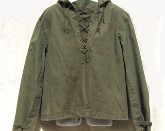 WWII USN Navy Deck Jacket Foul Weather Rain Parka. Size L