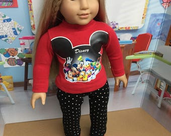 Two Piece Disney Outfit for American Girl Dolls or any 18 inch doll