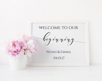 Welcome Wedding Sign, Welcome to Our Beginning Printable Wedding Sign, Editable Welcome Sign, Wedding Sign Decor. Instant Download. WC3