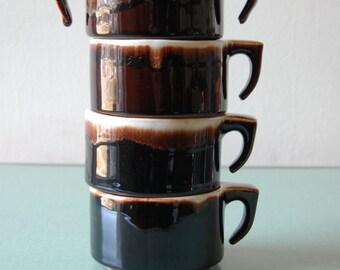 Set of 4 Stoneware Mugs // 70's Pfaltzicraft Mug Set // Soup Mugs