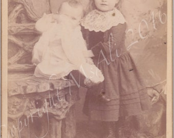 Peek A Boo Baby and Dog Vintage Cabinet Photograph