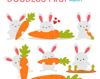 Big Carrot Bunny Clip Art for Scrapbooking Card Making Cupcake Toppers Paper Crafts