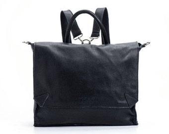 """BLACK Leather Backpack, Satchel backpack, School bag, 17"""" Laptop Backpack, Messenger bag, SPECIAL PRICE!"""