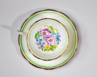 Royal Albert Bouquet Green Gold Teacup Saucer Bone China England