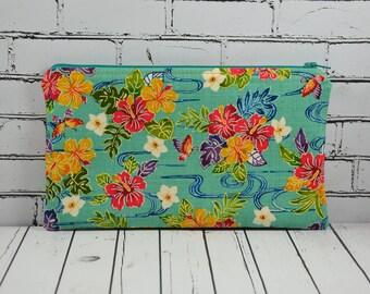 Retro Floral Pencil Case, Hibiscus Flower Zipper Pouch, Small Floral Makeup Bag